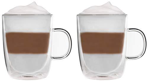 Snobby 2X 360ml doppelwandige Tassen/Thermotassen/Glastassen/Teetassen/Kaffeetassen mit Schwebeeffekt by Feelino