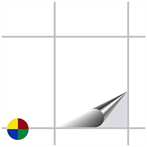 FoLIESEN Fliesenaufkleber 20x25 cm - Fliesen-Folie Bad - Klebefolie Küche - 15 Klebefliesen, Weiß glänzend