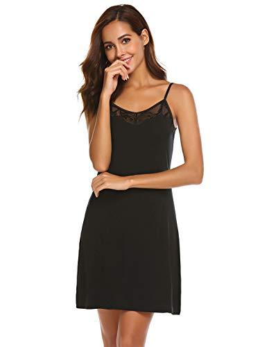 Meaneor_Fashion_Origin Damen Nachthemd Kurz Spaghettiträger Negligee Spitze Nachthemd V-Ausschnitt Nachtkleid Sexy Nachtwäsche Sleepwear (XL(EU 46), Schwarz)