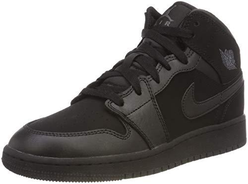Nike Mädchen AIR Jordan 1 MID (GS) Basketballschuhe, Schwarz Dark Grey/Black 050, 38 EU