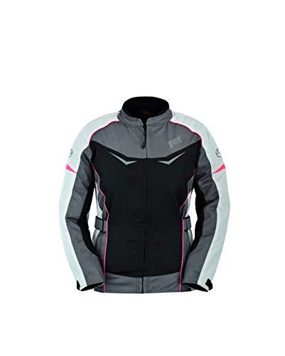 Jet Motorradjacke Damen Mit Protektoren Textil Winddicht Sommer Winter ROCHELLE (M (EU 38), Grau/Pink)