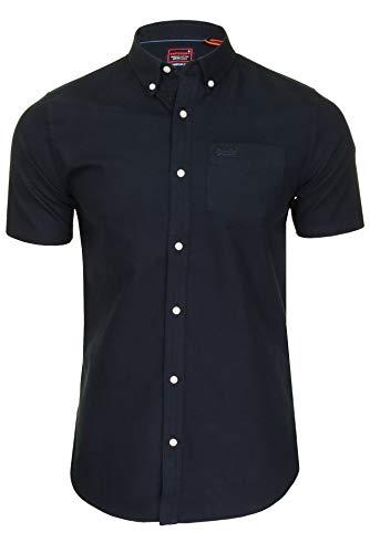 Superdry Herren Freizeithemden 'University Oxford' Unifarben Button-Down-Kragen Kurzarm (Eclipse Navy) L