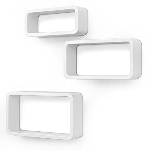 SONGMICS Wandregal, 3er Set, Cube Regal, Schweberegal, Würfelregal, Belastbarkeit bis 15 kg, Länge 44 cm 39cm 34 cm, weiß LWS97W