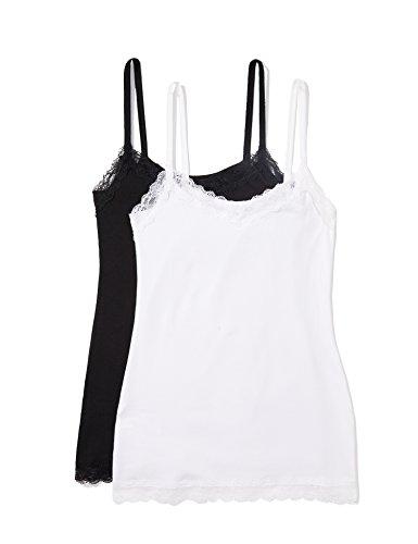 Amazon-Marke: Iris & Lilly Damen Unterhemd mit Spitze, 2er Pack Mehrfarbig X-Small