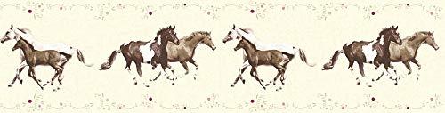 A.S. Création Bordüre Little Stars Borte mit Pferden 5,00 m x 0,13 m bunt creme Made in Germany 358382 35838-2