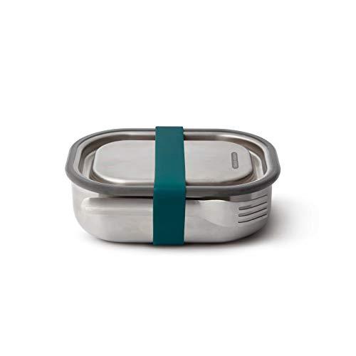 black+blum Edelstahl Lunchbox, ozean,auslaufsichere 3in1 Multifunktions-Box mit Vakuumventil, Teiler und Gabel. 100% plastikfrei. Maße: 20 x 15 x 6,5 cm