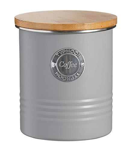 Typhoon Living Collection Kaffee, pastellgrau, 1 Liter Vorratsbehälter, Stahl, Holz, Silikon, grau