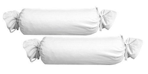 Biberna 0077144 Jersey-Kissenhülle für Nackenrolle aus 100 % Baumwolle, 2er-Pack, 15 x 40 cm Weiß, 27 x 18 x 2 cm