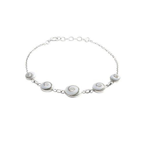 Silverly Damen Sterling Silber .925 Weiß Shiva Eye Muschel Kette Armband