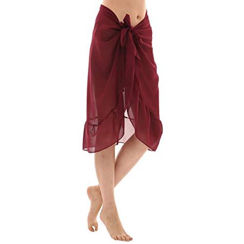 TUDUZ Damen Chiffon Pareo Strandkleider Einfarbig Bikini Cover up Wickelrock Wickeltuch Sonnencreme Schal Halstuch Strandkleid Multifunktions Tücher für Urlaub(One Size,Wein)