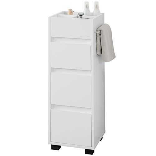 SoBuy BZR29-W Badezimmerschrank Badschrank Badkommode mit 3 Schubladen und 4 Fächern Kommode fürs Bad Midischrank mit Handtuchhalter Weiß BHT ca: 30x90x30cm