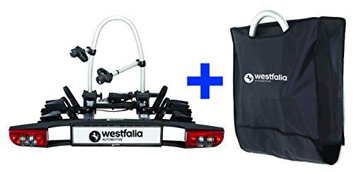 Westfalia BC 60 (Modell 2018) Fahrradträger für die Anhängerkupplung inkl. Tasche – Klappbarer Kupplungsträger für 2 Fahrräder – E-Bike geeigneter Universal-Radträger mit 60kg Zuladung