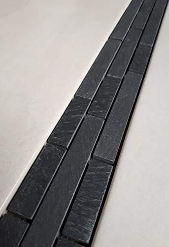 Naturstein Mosaik Bordüre aus Anthrazit Schwarz Schiefer im Format von 5 x 30 cm Fliesen