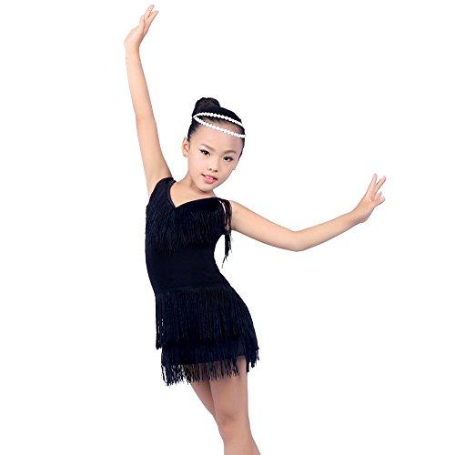 BOZEVON Mädchen Sling V-Ausschnitt Quaste Latin Dance Kleider Performance Kostüm (120, Schwarz)
