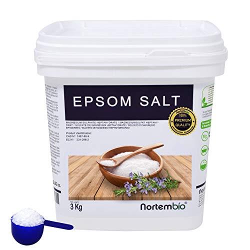 Epsom Salz NortemBio 3 Kg. Konzentrierte Magnesiumquelle, 100% Natürliches Salz. Bad und Körperpflege. E-Book Inklusiv.