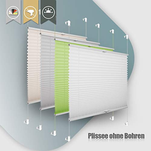 Plissee ohne Bohren klemmfix Jalousie Sonnenschutz Easyfix Faltrollo Crushed Optik Lichtdurchlässig Rollo für Fenster Tür Weiß 60x130cm(BXH)