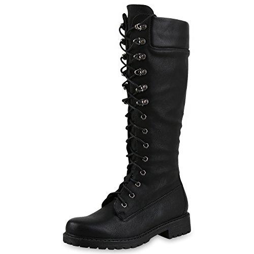 SCARPE VITA Damen Stiefel Profilsohle Blockabsatz Schnürstiefel Schuhe 164399 Schwarz 41