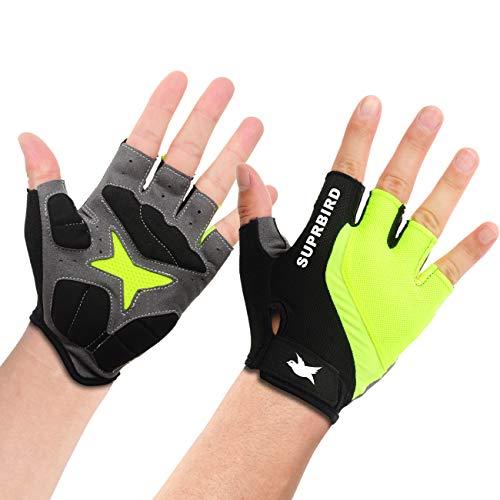 SUPRBIRD Fahrradhandschuhe Fingerlos Fitness Handschuhe Atmungsaktiv Rutschfestes Stoßdämpfende Radsporthandschuhe für MTB Fitness Damen und Herren