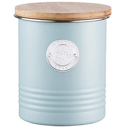 Typhoon Living Collection Kaffee, Pastellblau, 1 Liter Vorratsbehälter, Stahl, Bambusholz, Silikon, hellblau