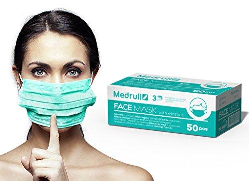 Medrull Atemschutzmasken (50 Stück), medizinischer Mundschutz zum Schutz vor Bakterien, 3-lagig, mit elastischen Ohrschlaufen, grün