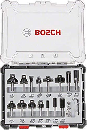 Bosch Professional 15tlg. Fräser Set (für Holz, für Oberfräsen mit 8 mm Schaft)