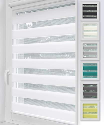 Home-Vision Duo Rollo Klemmfix, Doppelrollo ohne Bohren mit Klämmträgern, Rollos für Fenster und Türen (Weiß, B70cm x H150cm)