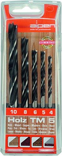 Bohrer / Holzbohrer Set TM 5, 5-tlg. | CV / HSS Maschinenbohrer sind hitzebeständig bis 250°C, die Spiralbohrer sind geeignet zum Bohren von Weich- und Harthölzern, punktgenau | Ø 4 / 5 / 6 / 8 / 10
