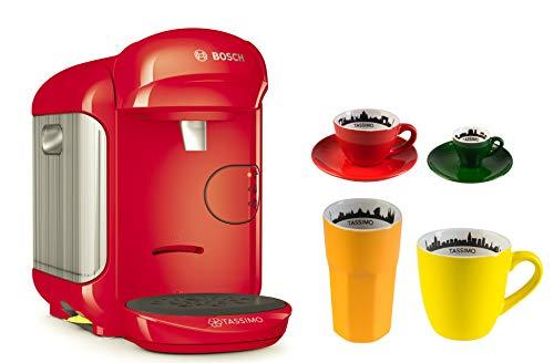 Bosch TASSIMO Vivy 2 + 4tlg. City Range Set Kaffee Becher Espresso Tasse Latte Macchiato Glas (Rot)