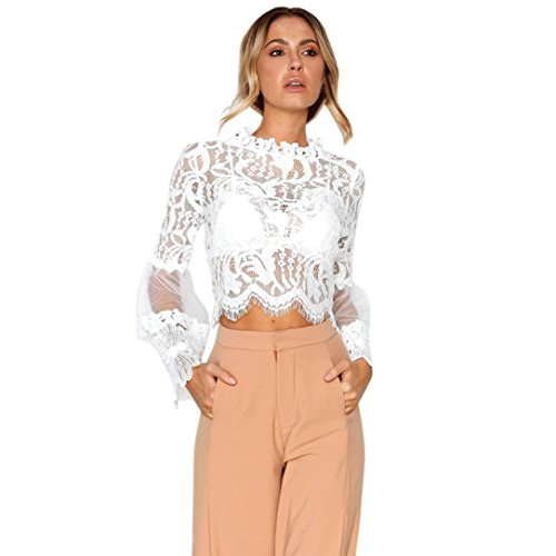 OVERDOSE Mode Frauen Lace Casual Tops Hohl Geschnitzte Langarm Bluse Frühling Sommer Pulli Oberteile Spitze Tops(A-White,40 DE/L CN)