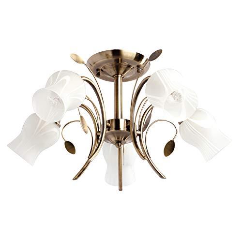 MW-Light 256018205 Deckenleuchte Florentiner Stil 5 Armig Messing Weiße Glasschirme