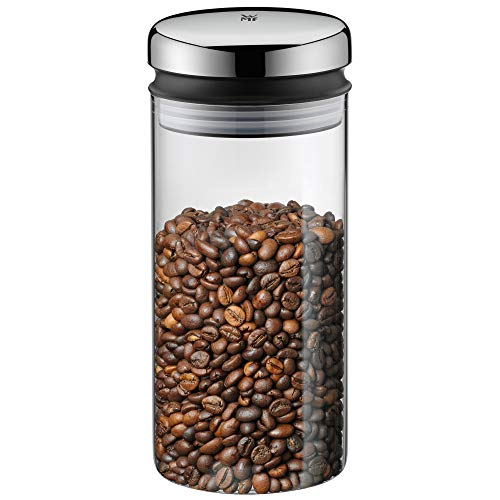 WMF Depot Vorratsdose Glas 1,0l, Höhe 21,5 cm, Vorratsglas mit Deckel, Kaffeebohnen Behälter, Müslidose, Frischhaltedose mit große Einfüllöffnung