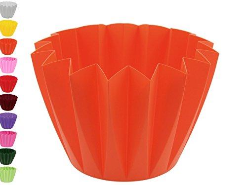 meindekoartikel Blumentopf Übertopf Adonis Ø11cm oder Ø14cm aus Kunststoff in tollen Farben (Ø 14 cm x Höhe 11 cm, Mango)