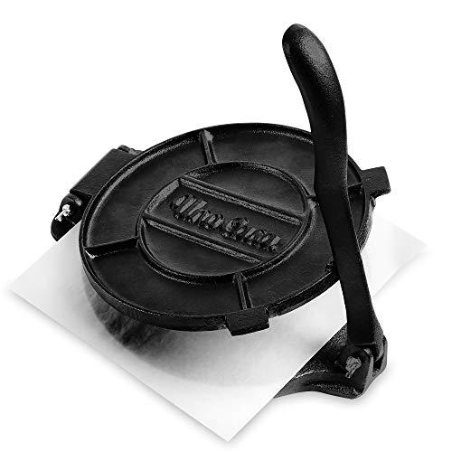 Uno Casa Tortilla Presse 20 cm - Hochleistungs-Gusseisen Tortilla Maker - Bonus 100 Stk. Pergamentpapier