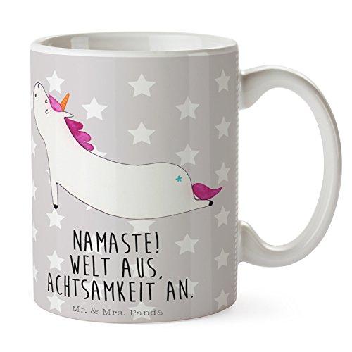 Mr. & Mrs. Panda Teetasse, Frühstück, Tasse Einhorn Yoga mit Spruch - Farbe Grau Pastell