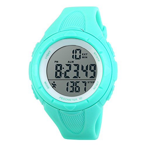 TOPCABIN Mädchen Uhren Damen Jungen Kinder Digital Armbanduhr mit Wecker/Timer/LED-Licht,Wasserdichte Elektronische Multifunktions-Step Counter Sports Uhren für Damen Hellblau