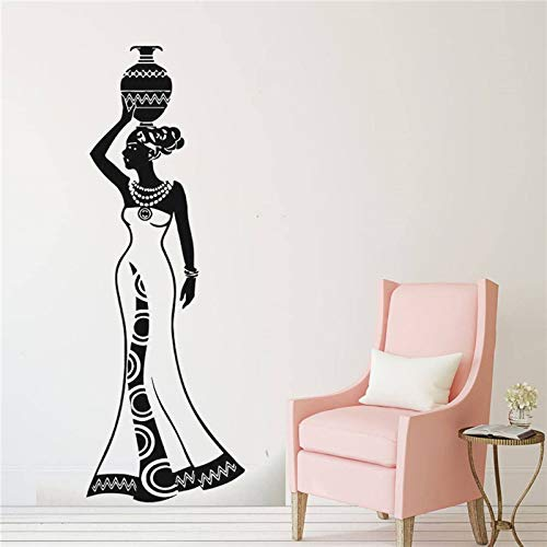 hetingyue Wandaufkleber Fenster wandaufkleber schönheitssalon Frau Gesicht afrikanisches Gesicht Afro Stil afrikanische heimtextilien 201x75cm