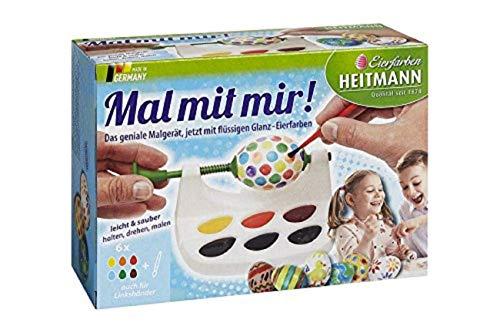 Heitmann Malgerät - Mal mit Mir! - Ostereier-Malmaschine - 6 flüssige Eierfarben - Pinsel - auch für Linkshänder