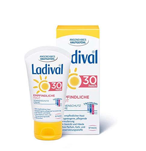 Ladival, Empfindliche Haut Sonnenschutz Creme für das Gesicht LSF 30 Parfümfreie Sonnencreme ohne Farb und Konservierungsstoffe wasserfest, 50 ml