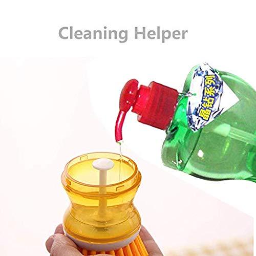 Seifenspender Palmscheibenbürste Spülbürste mit Spülmittel Flüssigseifenspender Küchenbürste für Topf Pfanne Spüle Reinigung Kleine runde Bürste mit integriertem Seifenspender gelb