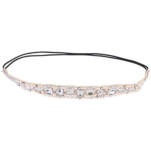 Frcolor Damen Mädchen handgefertigte Strass Stirnband Crystal Perlen Spitzen Haarband Hochzeit Haarschmuck