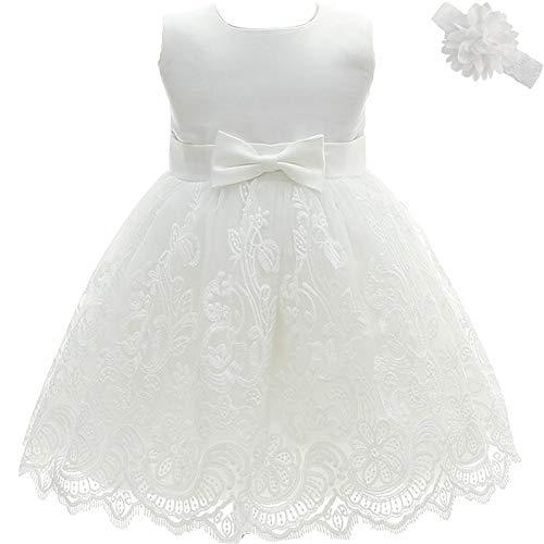 AHAHA Baby Mädchen Prinzessin Kleid Blumenmädchenkleid Taufkleid Festlich Kleid Hochzeit Partykleid Festzug Babybekleidung 3M/0-5Monat Weiß