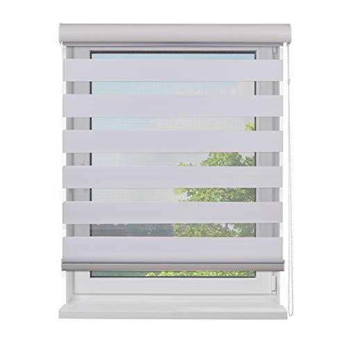 Fensterdecor Doppel-Rollo mit Aluminium-Kassette, Rollo für Fenster mit seitlichem Kettenzug, Seitenzug-Rollo mit Blende in Weiß für Innen-Bereich, lichtdurchlässig u. verdunkelnd, 150 x 230 cm