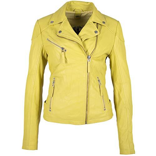 Gipsy Damen Lederjacke GGPasja LNV aus Lammnappa Leder (XL, Lemon Yellow)