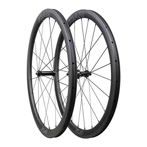 QIQI Bikes Carbon Laufräder Rennrad 40mm Clincher Tubeless Ready TLR Straight Pull Sapim CX-Ray Speiche (Schnelle & Leichte Serie) 1400g