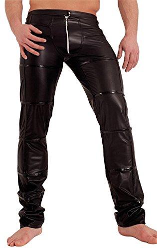 Noir Handmade Clubwear Lange Herren-Wetlook-Hose schwarz, Partyhose, mit Zipp Größe Large