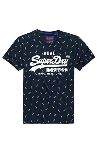 Superdry Herren Vintage Logo AOP Mid Tee Pullunder, Blau (Eclipse Navy 98t), XX-Large (Herstellergröße: 2XL)