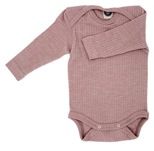 Cosilana Baby Body 1/1 Arm, Größe 50/56, Farbe Pink Meliert - Exclusiv Wollbody®GmbH - Qualität 91 45% Baumwolle kbA, 35% Schurwolle kbT, 20% Seide