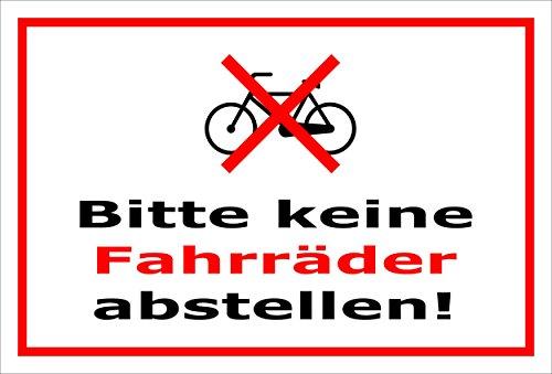 Melis Folienwerkstatt Schild - Fahrräder abstellen - 30x20cm | Bohrlöcher | 3mm Hartschaum – S00050-049-B -20 Varianten