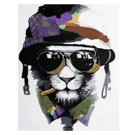 QZHYGE Military Cap Lion Digitales Ölgemälde von Number Kit DIY Malerei Kunst Zeichnung mit Pinsel 40 * 50 cm Kombination holzrahmen Tier Dekorationen Geschenke