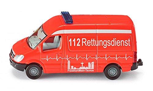 SIKU 0805, Krankenwagen, 1:87, Metall/Kunststoff, Rot, Bereifung aus Gummi, Spielzeugfahrzeug für Kinder